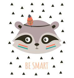 cute cartoon tribal raccoon card vector image