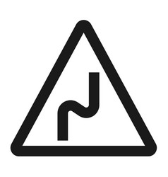 Dangerous double bend sign line icon vector