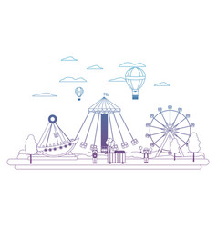 Degraded line funny carnival mechanical ride games vector