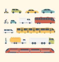 Different kinds of city and intercity public vector