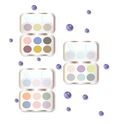 Eyeshadows makeup set collection colorful vector