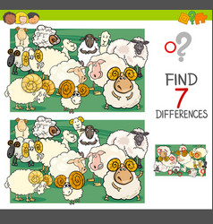 find differences with sheep farm animal characters vector image