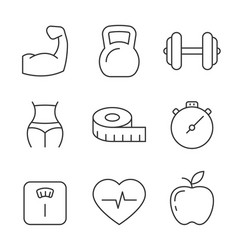 fitness and gym line icons on white background vector image