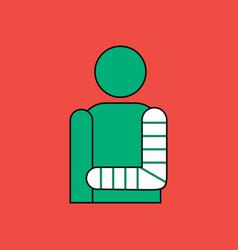 Flat icon design collection man with broken arm vector