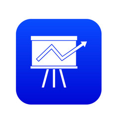 flip chart with statistics icon digital blue vector image