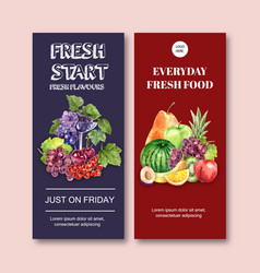 Flyer design with various fruits creative vector