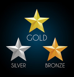 Gold silver and bronze stars elements vector