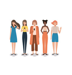 group of business woman with smartphone vector image
