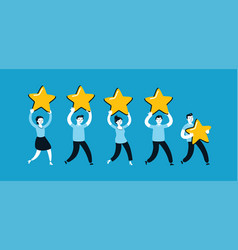 group people giving a five star rating vector image