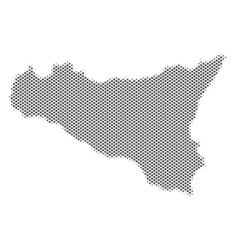 halftone grey sicilia map vector image