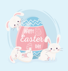 happy easter day bunnies with big decorative egg vector image