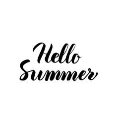 hello summer handwritten lettering vector image