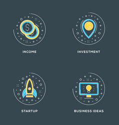 income investment startup business ideas set of 4 vector image
