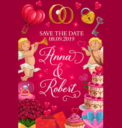 Invitation on wedding ceremony save date vector