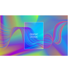iridescent vibrant waves on gradient background vector image