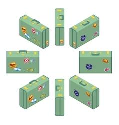 Isometric standing green travelers suitcases vector