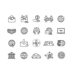 Large set global business icons vector
