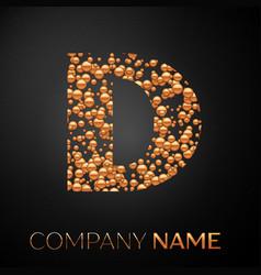 Letter d logo gold dots alphabet logotype vector