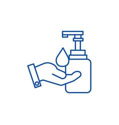 Liquid soap with hand line icon concept liquid vector