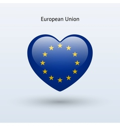 Love European Union symbol Heart flag icon vector