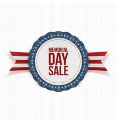 Memorial Day Sale festive Emblem and Ribbon vector image