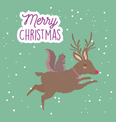 merry christmas celebration cute reindeer vector image