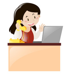 Office worker answering the phone call vector