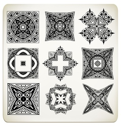 Old baroque design set vector