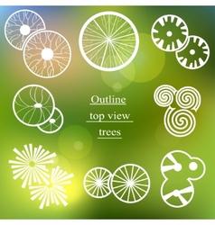 Outline set Trees top view for landscape design vector