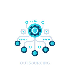 Outsourcing production process icon vector