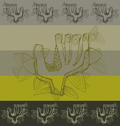 Pattern with greeting contoured hands vector