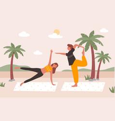 people practice yoga on beach vector image