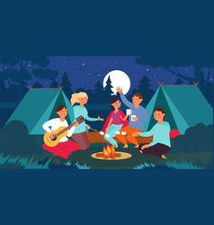 people sitting bonfire summer night friends vector image