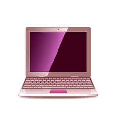 pink laptop isolated on white vector image
