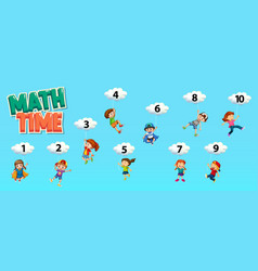 Poster design for math with number one to ten in vector