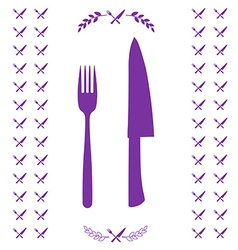 Purple chef knife and fork crossed in vector image