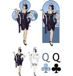 Queen clubs caucasian starlet mafia card set vector