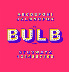 retro light bulb bright alphabet modern vector image