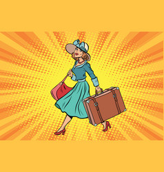 Retro traveler girl with a suitcase vector