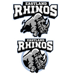 rhino mascot charging vector image