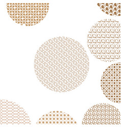 round geometric golden patterns on white with vector image