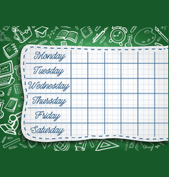 School timetable weekly lesson schedule template vector