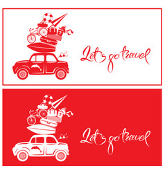 seasonal card with small and cute retro travel car vector image