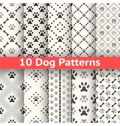 set animal seamless pattern paw footprint vector image