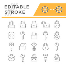 set line icons lock and key vector image