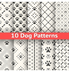 Set of animal seamless pattern of paw footprint vector image