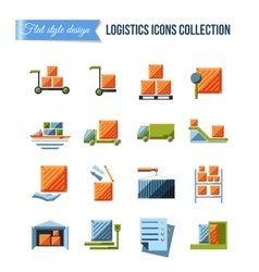 Set of delivery and logistics systems flat icons vector