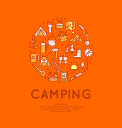 set of icons and symbols for camping vector image