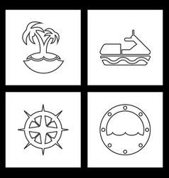 set sea icons vector image