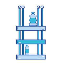 Shelf with bleach and detergent liquid bottle vector